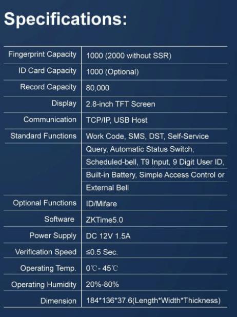 Specifications of biometrics Attendance Machine K40