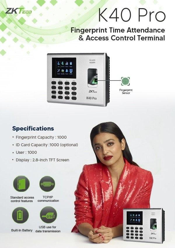 Zkteco biometrics Attendance Machine K 40 Pro