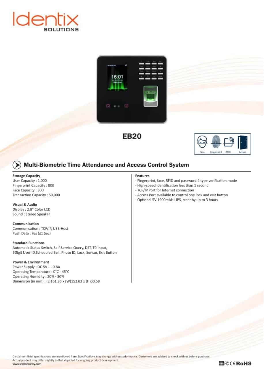 eSSL EB20 Face Time Attendance Machine with Access Control